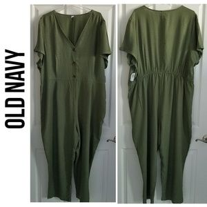 Old Navy Short-Sleeve, Button-Front Jumpsuit